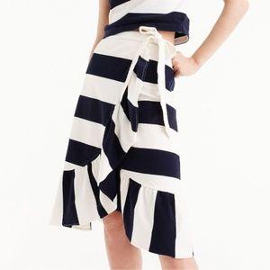 NWT J. Crew Blue and White Stripe Wrap Skirt XS